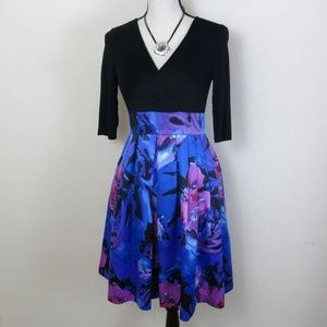 Adrianna Papell Black and Floral Dress Size 4